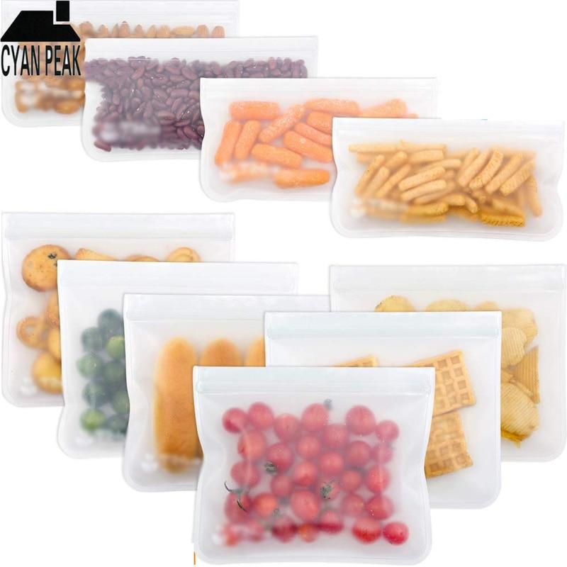 Силиконовый Пакет для хранения пищевых продуктов, герметичные пакеты для свежести, многоразовые контейнеры для хранения пищевых продуктов...
