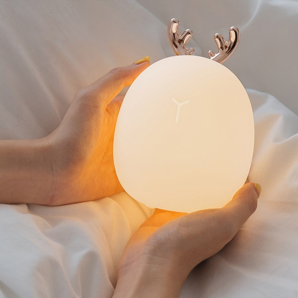 LED Night Light Dimmable Silicone Animal Cartoon Lamp USB Rechargeable For Children Kids Baby Gift Bedside Bedroom Living Room