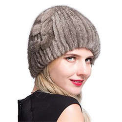 Middle aged women in the winter: mink fur women's knitted sweater hat new fashion European and American cat style ski caps 8
