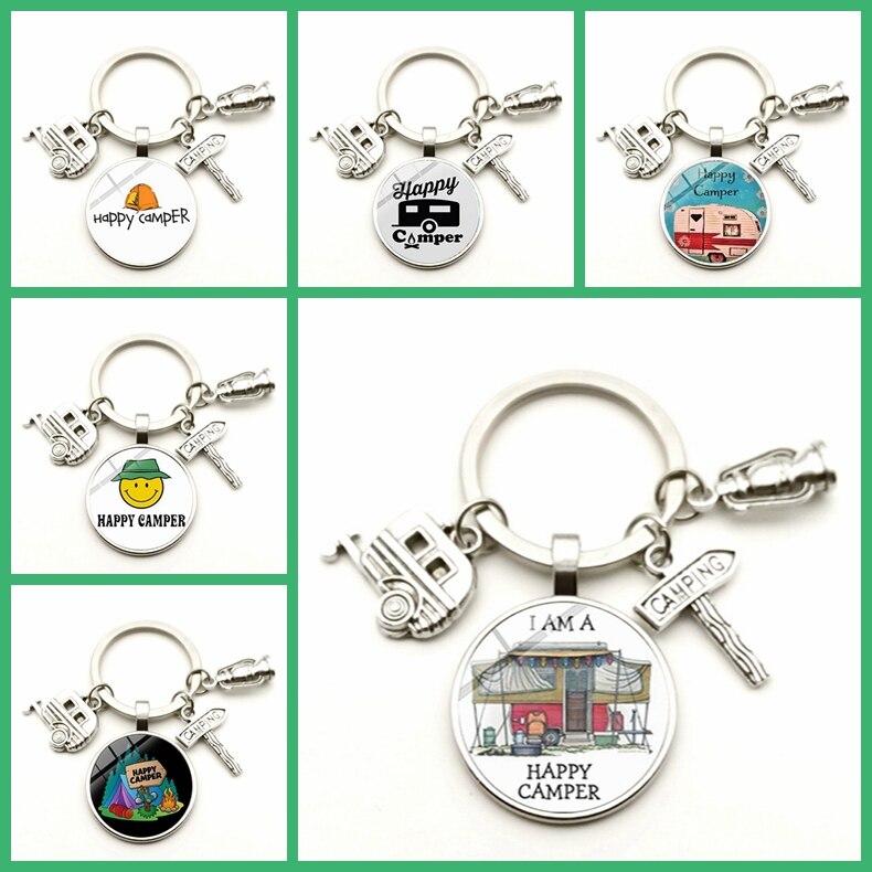 Camper Car Keychain Street Sign Cartoon Cute Glass Cabochon Tourists Handmade Key Ring Traveler Beautiful Gift Keychain