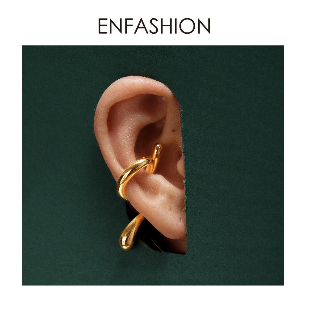 ENFASHION Punk Curve Linha Ear Cuff Clip Sobre Brincos Para As Mulheres da Cor do Ouro Brincos Sem Piercing Jóias Oorbellen 2019 E191078