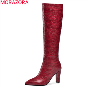 MORAZORA 2020 big size 33-45 fashion high heels boots high quality winter keep warm knee high boots thick heels ladies shoes
