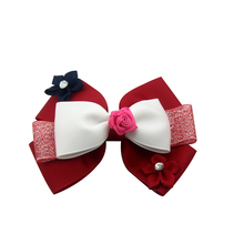 Adogirl 5pcs Flower Hair Bow Ribbon with Diamond  Deco Handmade Boutique Accessories glitter Bow-knot Headwear Hairgrips