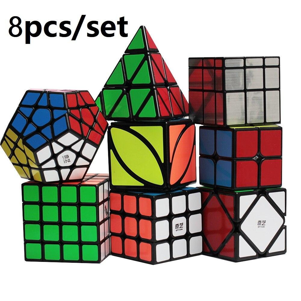 Qiyi Magic Cube 8pcs Set Bundle 3x3 2x2 4x4 5x5 Magic Cube Twist Carbon Fiber Stickerless Mini Neo Cube Gifts For Kids