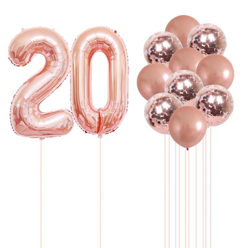 20 21 22 23 24 25 26 27 28, 29, 30 лет шар цвета розового золота, милый комплект конфетти воздушные шары для День рождения украшения