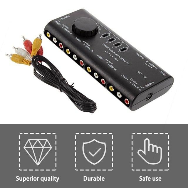 4 en 1 sortie AV RCA boîtier de commutation AV Audio vidéo Signal commutateur séparateur 4 voies avec câble RCA pour télévision DVD VCD TV