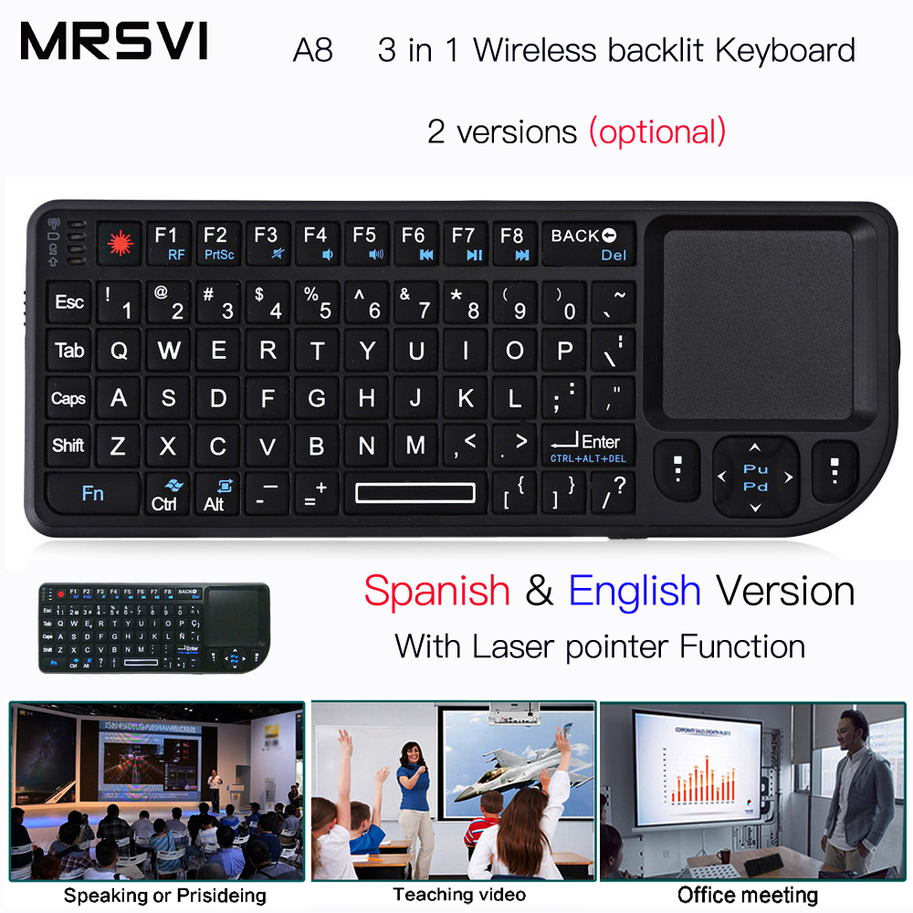 A8 Russianрусски Spanish English Air Fly Mouse White Color Backlit Mini Wireless Keyboard Handheld Touchpad For Speech Projector