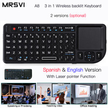 A8 Russianрусски Spaans Engels Air Fly Muis Witte Kleur Backlit Mini Wireless Keyboard Handheld Touchpad Voor Spraak Projector(China)