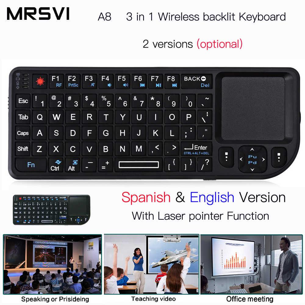 A8 Russianрусски Spaans Engels Air Fly Muis Witte Kleur Backlit Mini Wireless Keyboard Handheld Touchpad Voor Spraak Projector