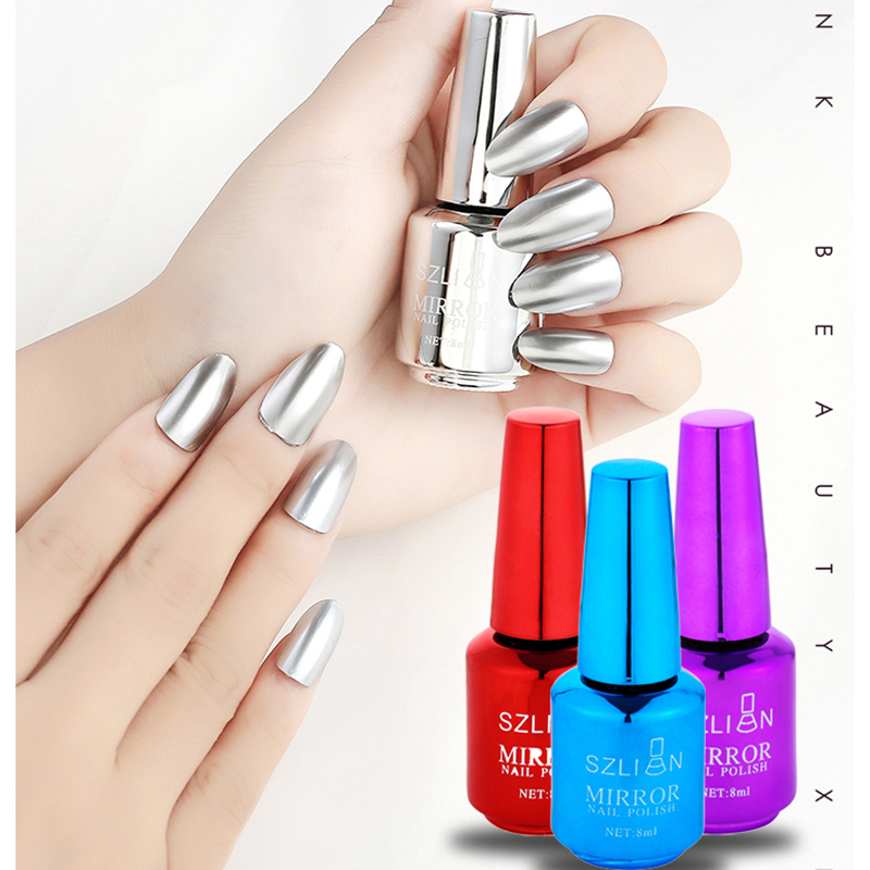 New Nail Mirror Nail Polish 8ml Stainless Steel Gold And Silver Effect Lasting And Unpeelable 16 Colors Optional