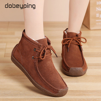 New Women KeepWarm Cotton Boots Cow Suede Leather Winter Shoes Woman Plush Women's Snow Moccasin Ankle Female Flats - discount item  50% OFF Women's Shoes