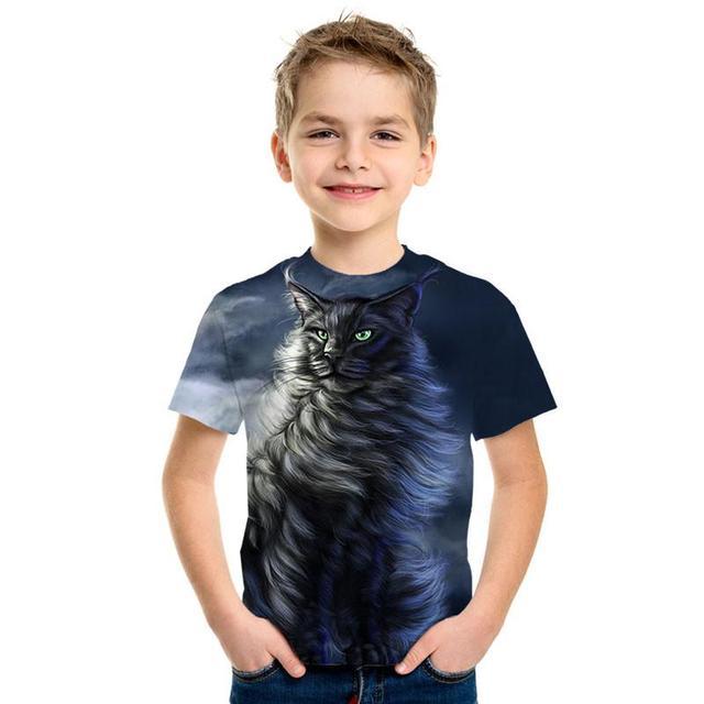 3D Print Cute Fashion Kids Top Short Sleeve T Shirt Cute Cartoon Panda Male/Girl Wear Street Tide Style Top T Shirt Cartoon Cat