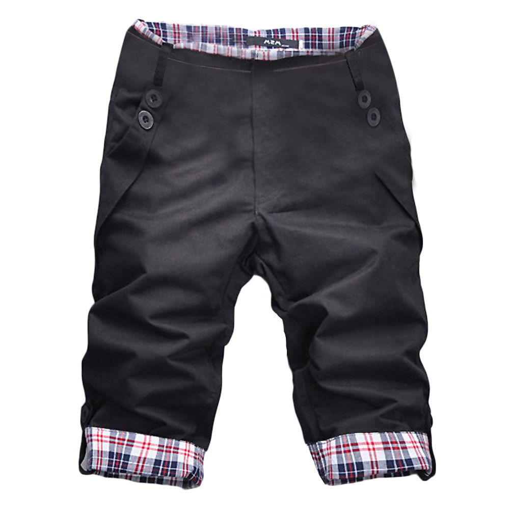 2020 Fashion Mens Shorts Summer Green Shorts Men Loose Pocket Shorts  Cargo Trousers Checks Trousers Solid Color