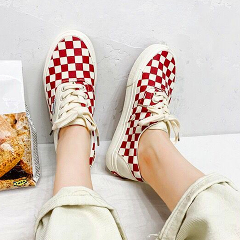 New Checkered Chess Canvas Shoes Casual Shoes Lovers Shoes Ladies Vulcanized Shoes Comfortable Breathable Lightweight Flat Shoes