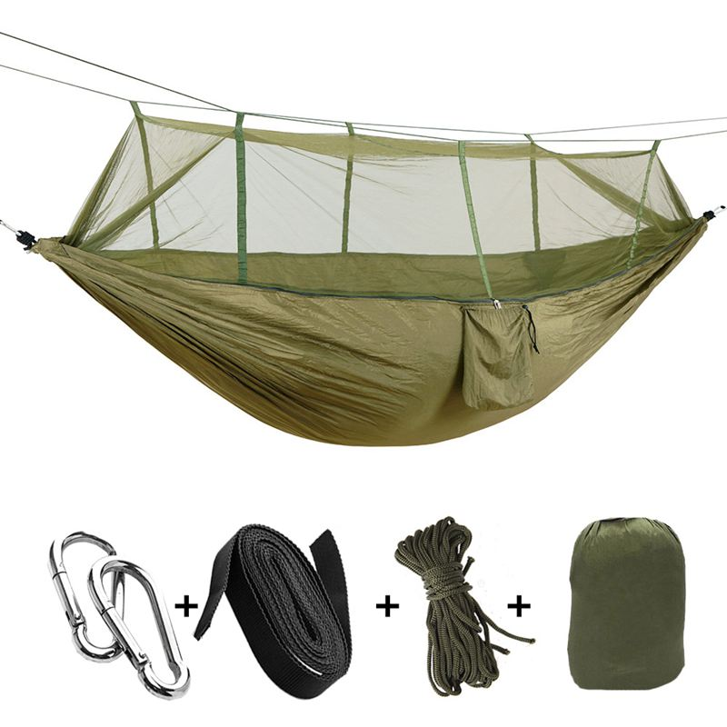 Portable High Strength Parachute Fabric Camping Hammock Hanging Bed With Mosquito Net Sleeping Hammock Army Green