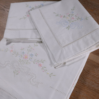 SH01+PC01: 1piece Sheet 2pcs Pillow case Hand embroidered flowers Drawnwork White Ramie Cotton fabrics pillowslip bedclothes