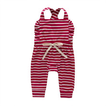 Newborn Baby Clothes Backless Striped Ruffle Romper Overalls