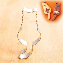 Cute Kitty Shape Aluminium Cookie Mold Maker Metal Dough Cutter Pastry Baking Cat Mould Sugarcraft Cake Molds Dropshipping