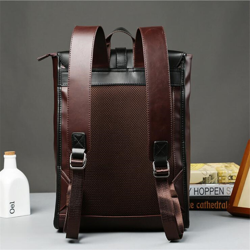 Image 3 - Vintage Laptop Crazy Horse PU Leather Backpacks for School Bags 