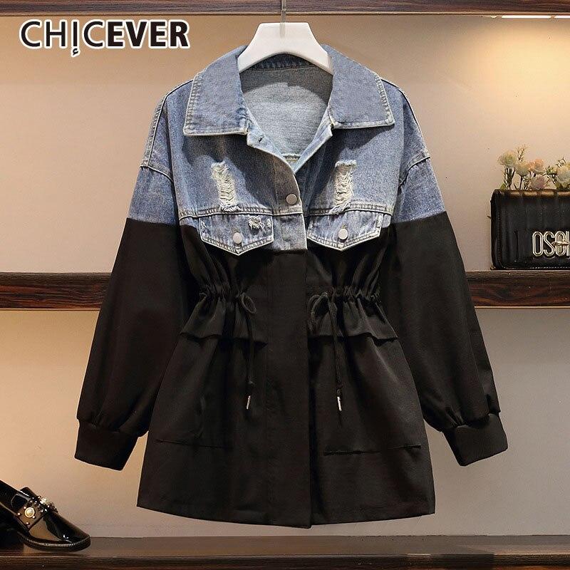 CHICEVE Patchwork Hit Color Denim Windbreaker Women Lapel Collar Long Sleeve Lace Up Bowknot Plus Size Jacket Female 2020 Autumn