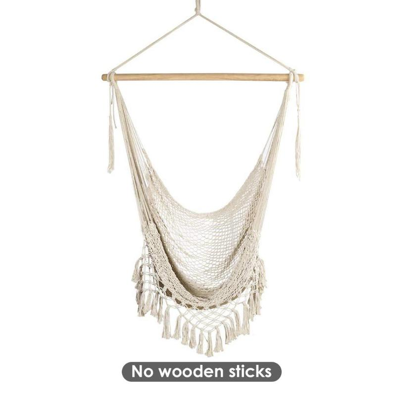 Canvas Swing Hanging Hammock Cotton Rope Tassel Tree Chair Seat Cotton Rope Leisure Adult Outdoor Indoor Garden Bedroom Safety