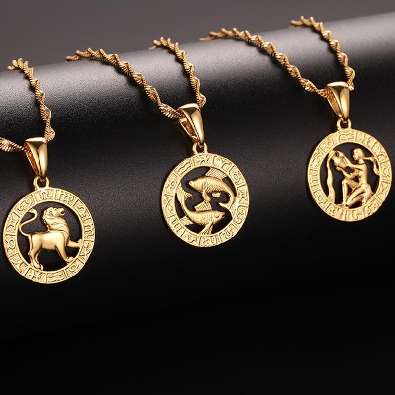 FJ 12 Zodiac Sign Yellow Gold Color Constellation Leo/Scorpio/Aquarius Pendant Water Wave Chain Necklace(China)