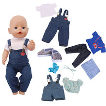 2019 mixed style denim style American doll clothes suitable for 18 inch dolls and 43 cm rebirth dolls, generation, gifts(China)