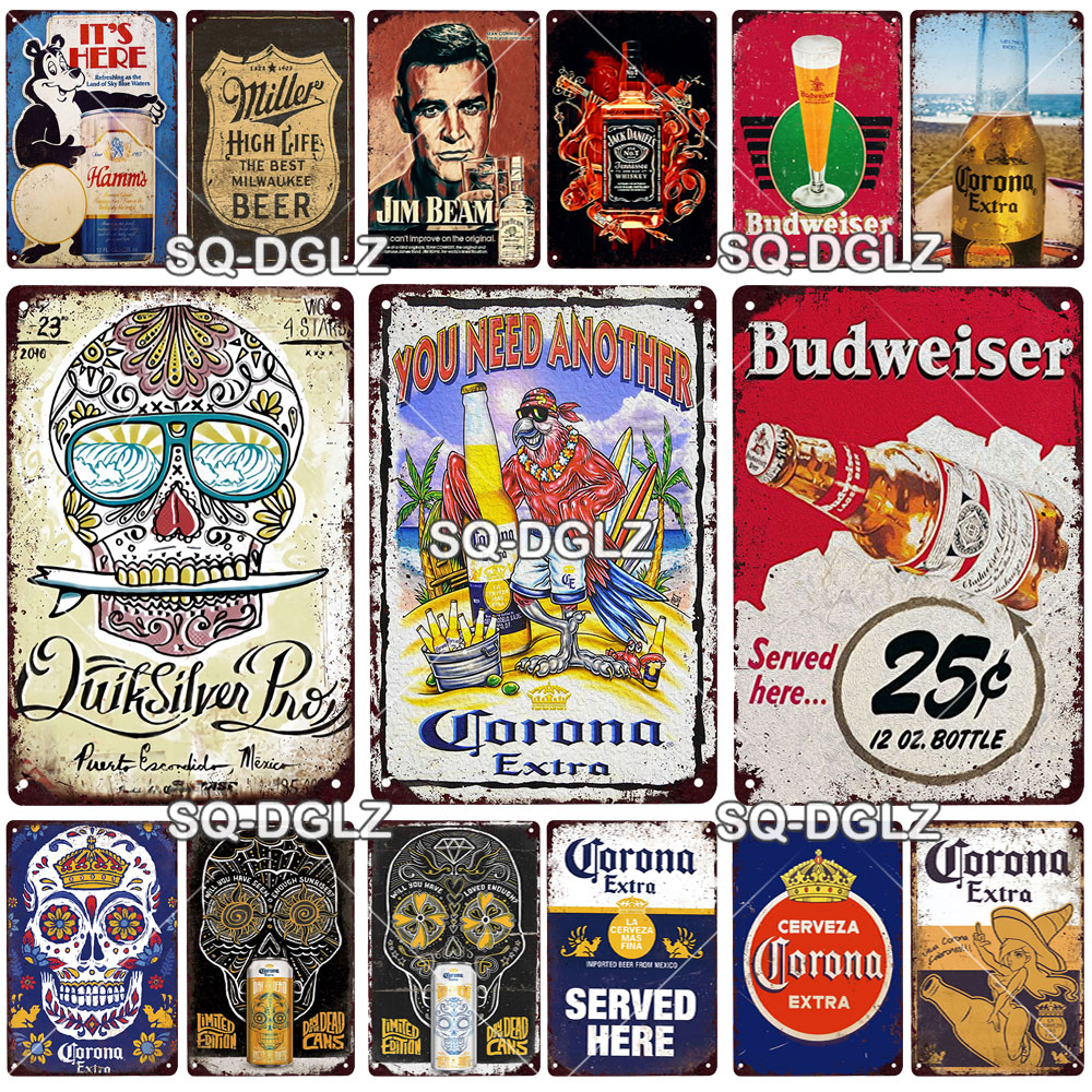 Corona sinal de metal extra placa de metal do vintage estanho cartaz de metal decoração da parede fo bar pub homem caverna placa decorativa cerveja cartaz
