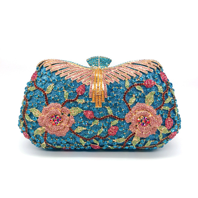 Hollow Out Flower Crystal Evening Clutch   2