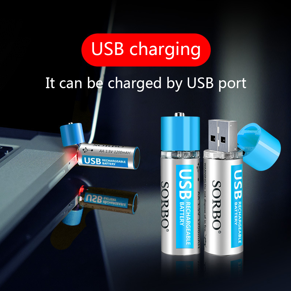 2/4pcs SORBO USB Rechargeable Battery 5V AA 1200mAh Lithium li-polymer Lithium USB Battery RoHS CE temperature control image