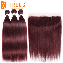 99J/Burgundy Human Hair Bundles With Frontal X TRESS Pre Colored Brazilian Non remy Straight Bundle Hair Weave With Lace Frontal