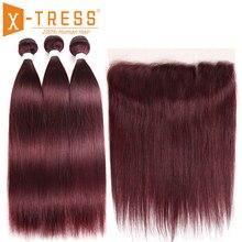 99j/borgonha feixes de cabelo humano com frontal X TRESS pré colorido brasileiro não remy em linha reta pacote tecer cabelo com laço frontal