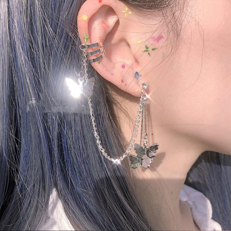 New Creative Baroque Butterfly Cool Pendant Punk Drop Dangle Earring Harajuku Jewelry for Women Girl Luck Friendship Gifts