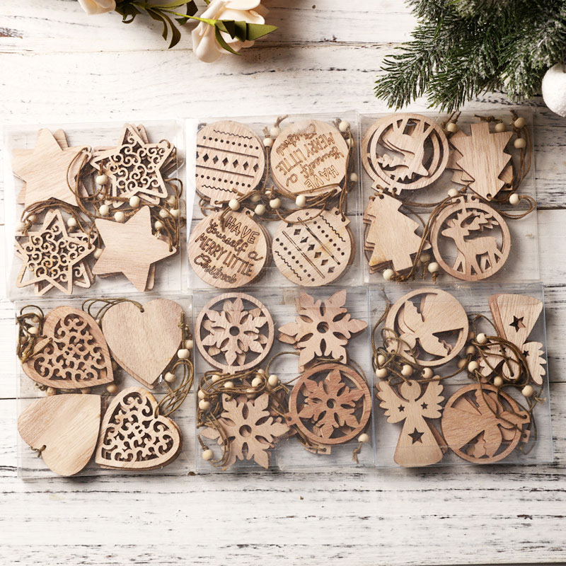 12pcs DIY Wooden Pendants 2021 Merry Christmas Decoration For Home Ornaments Angel Xmas Tree Star Gift 2022 Happy New Year