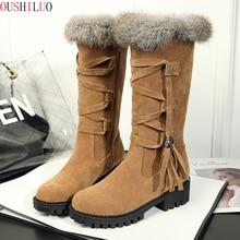 Platform Faux Fur Mid Calf Boots Women 2019 Winter Elegant Fringe Flock Black Botas Mujer Casual Block Heels Shoes Woman цена