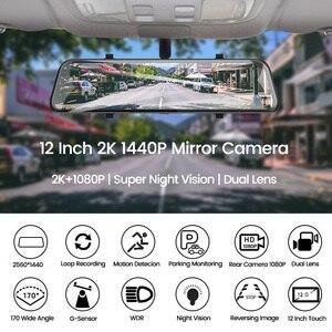 Image 2 - E ACE araba dvrı FHD akışı medya dikiz aynası 2K + 1080P Video kaydedici çift Lens Dash kamera ile dikiz kamera Registrator