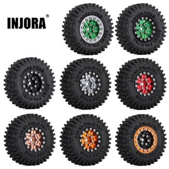 """INJORA 4PCS 52*18mm 1.0"""" Beadlock Wheel Rims Tires Set for 1/24 RC Crawler Car Axial SCX24 90081 AXI00001 AXI00002 Deadbolt 1"""