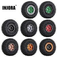INJORA-LLANTAS de rueda con abalorios para coche, juego de neumáticos para coche trepador de control remoto Axial SCX24 1,0 AXI00001 AXI00002, 1/24