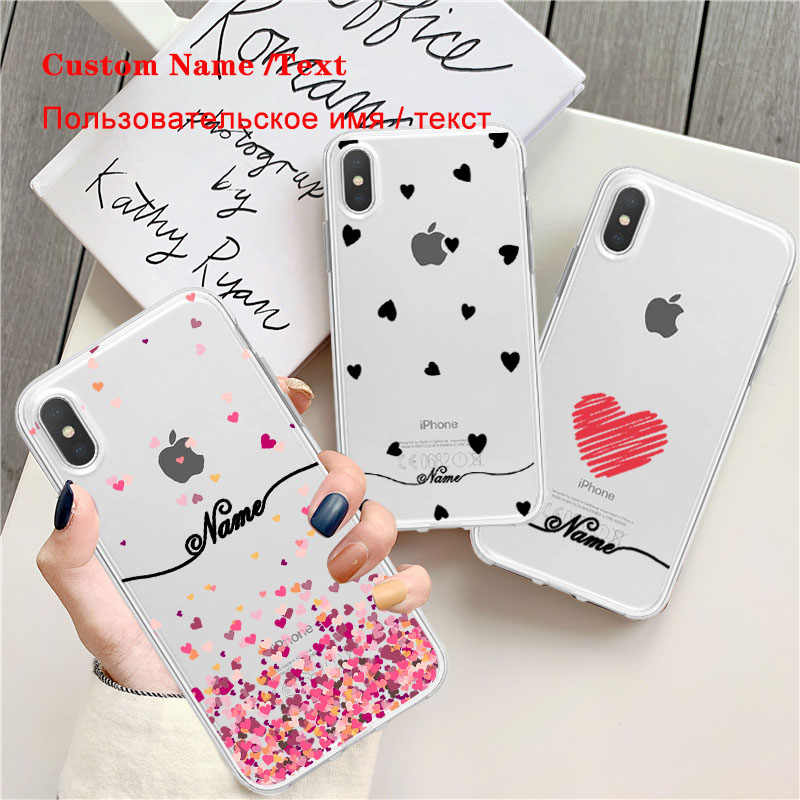 Heart Transparent Phone Case For iPhone XR XSMax X 7 8 Case Luxury Custom DIY Name Clear Soft Tpu Cover for iPhone 11 7p 6p 5s