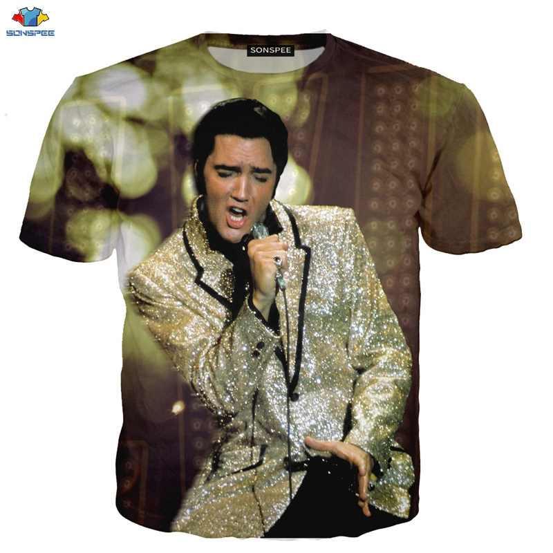 Sonspee novo popular elvis presley camiseta masculina rei da rocha impressão 3d moda legal de manga curta camiseta engraçado crianças