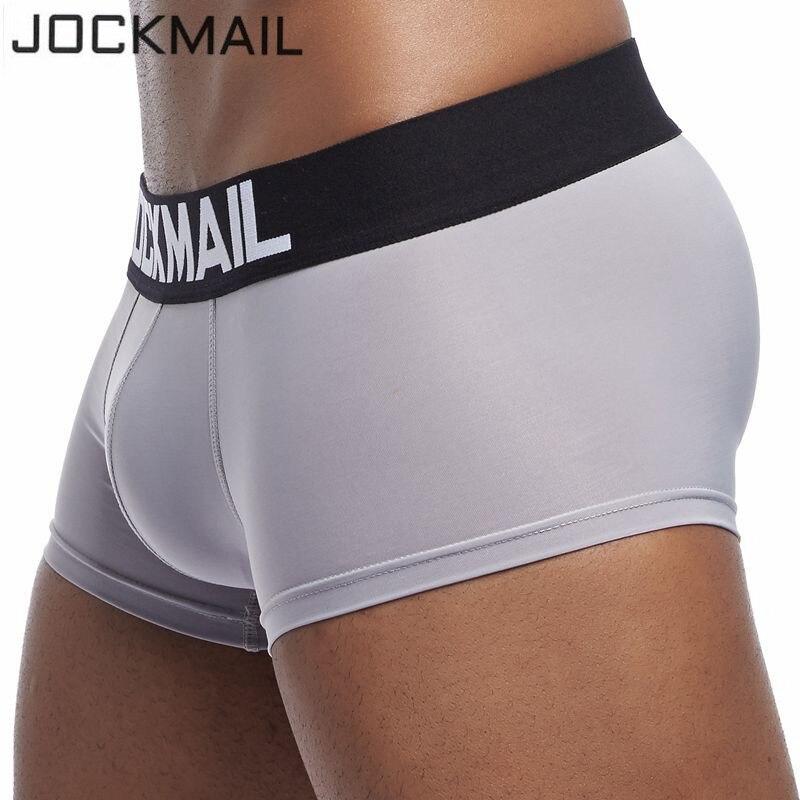 Мужские трусы-боксеры JOCKMAIL, мягкие и стильные боксерские трусы из ледяного шелка, с u-образным карманом, для геев