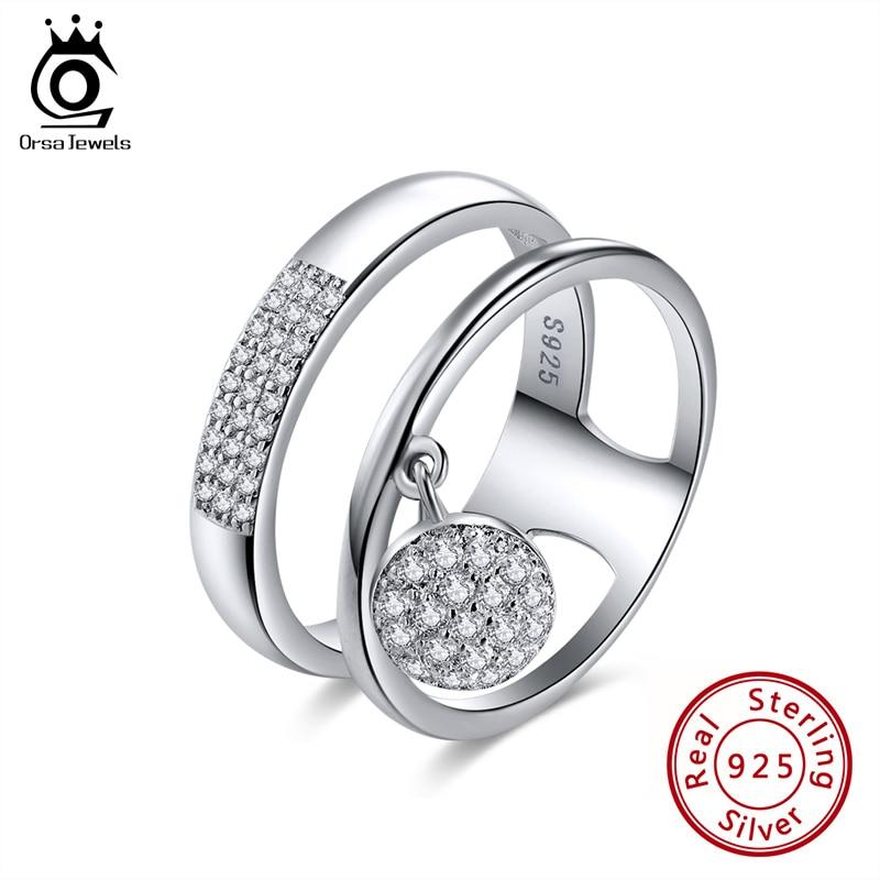 ORSA JEWELS Настоящее серебро 925 пробы кольца для женщин AAA блестящие кубические циркониевые висячие кольца наборы женские ювелирные изделия для вечеринок OSR54