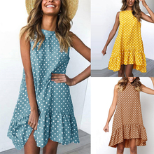 купить Women Summer Dresses Ruffled Polka Dot Sleeveless Longuette Round Neck Casual Short Polka Dot Mini Office Lady Dress 2019 по цене 178.46 рублей
