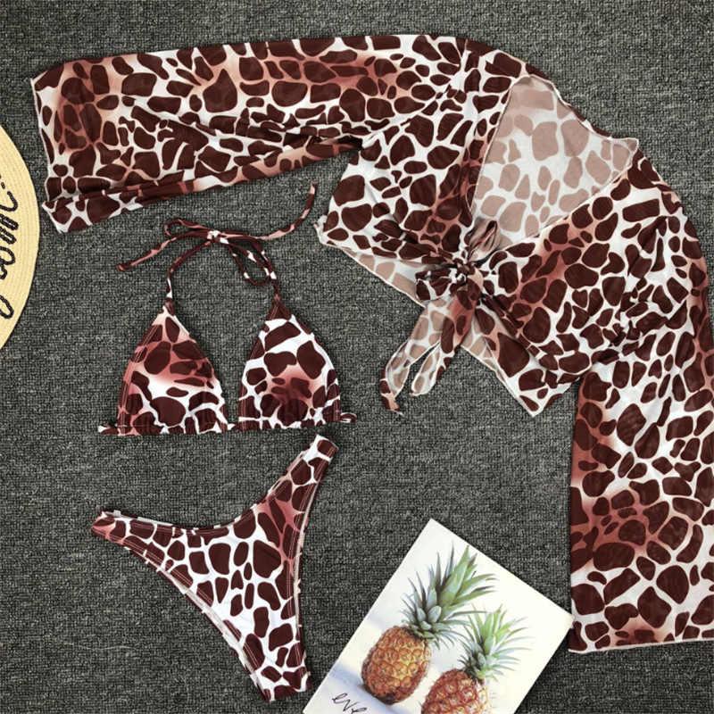 Reconhecimento biquíni feminino de malha, três peças, maiô sexy feminino de leopardo, maiô brasileiro para verão 2020