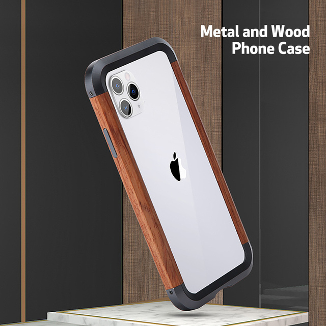 iPhone 11 Pro Max Metal Wood Frame Bumper Back Case Cover