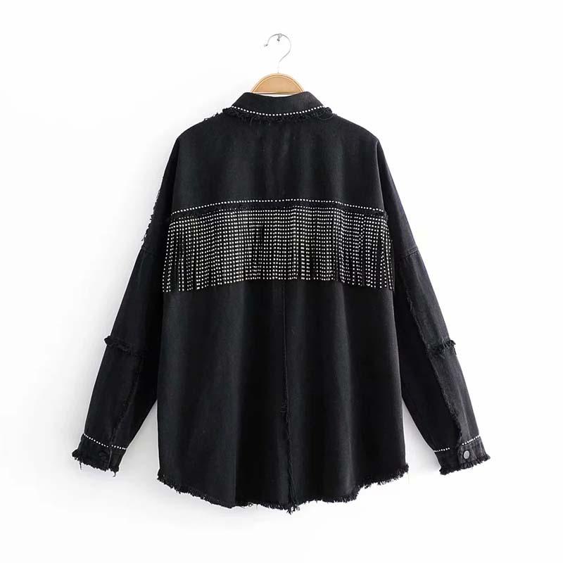 Automne noir haute qualité en vrac Denim veste décontracté femmes Punk manteau Rivet Sequin gland à manches longues Jean veste d'extérieur
