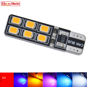 1Pcs Canbus Error Free T10 W5W LED Bulb Car Styling Interior Light Side Marker Turn Lamp White Amber Yellow Red Auto 194 168 12V image