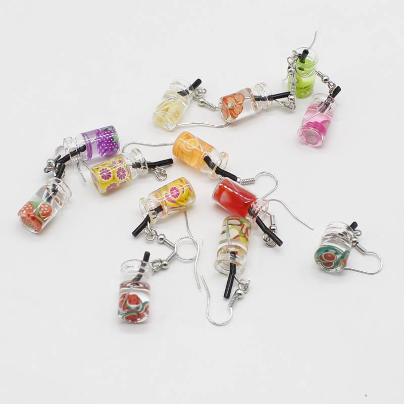New simulation fun fruit cup drink bottle earrings cute Harajuku style small fresh summer