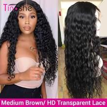 Tinashe de la onda de agua peluca 13x6 frente de encaje pelucas de cabello humano 180 de densidad mojado y ondulado transparente pelucas de encaje Remy 360 peluca Frontal de encaje