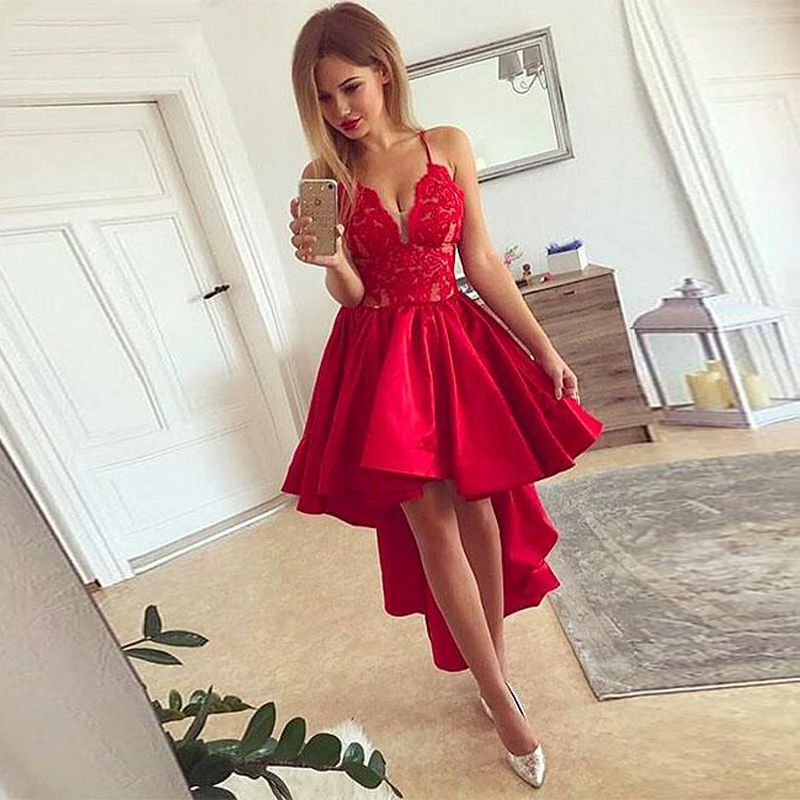 High Low Prom Dress Real Spaghetti Straps Lace Appliques Bodice Tea-Length Party Gowns A-Line Satin Cocktail Dresses